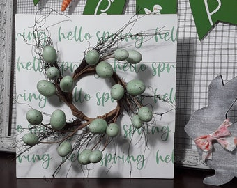 Hello Spring Wood Sign - Spring Wreath Signs - Rustic Easter Decor - Farmhouse Spring Sign - Spring Egg Wreath