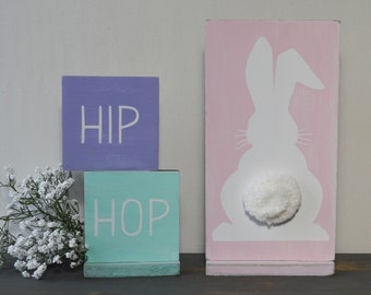 Rustic Wood Bunny Rabbit - Rustic Easter Decor - Wooden Bunny Sign - Easter Shelf Sitter Wood Sign