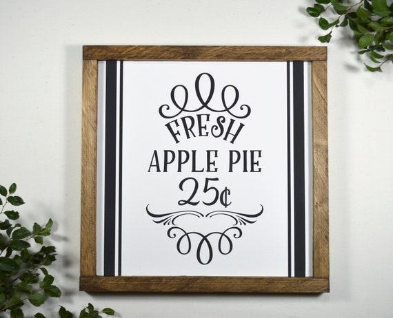 Farmhouse Kitchen Wood Signs Apple Pie Sign Decorative Kitchen Wall Decor Apple Kitchen Decor Country Kitchen Decor Signs