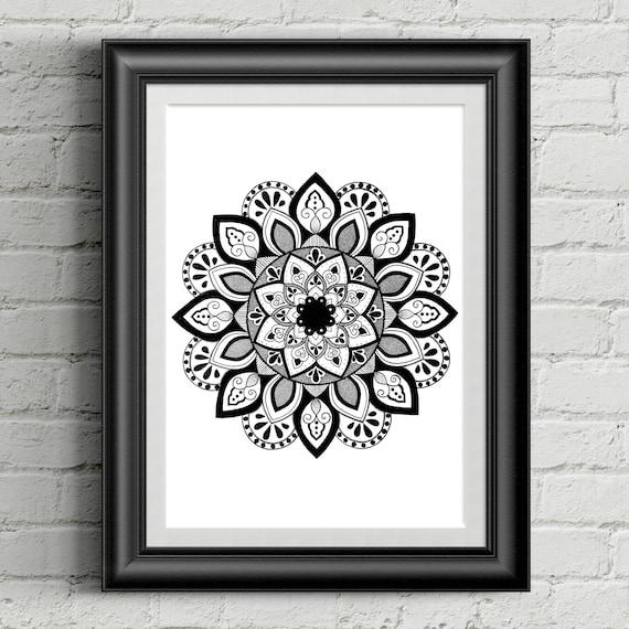 Mandala A4 Art Print Etsy