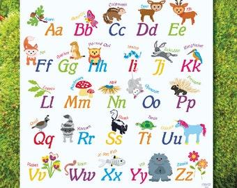 Alphabet Woodland Theme Poster classroom decor print whimsical