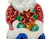 Christopher Radko - GREENHOUSE GREETINGS - Santa - Poinsettia - Christmas Ornament - Tree Decoration - Blown Glass - Vintage - Retired