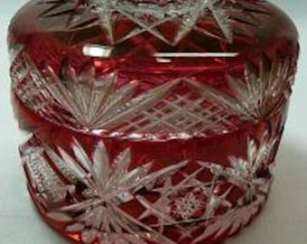 Antique Cranberry cut to clear covered jar