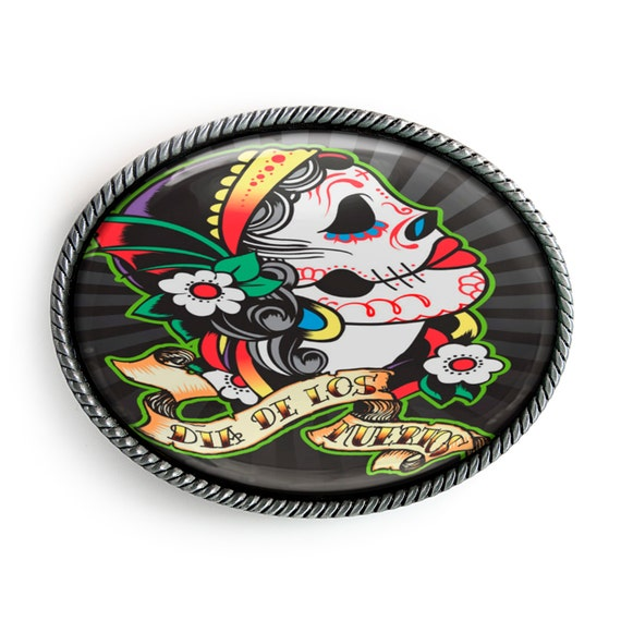 Day of the Dead Sugar Skull Silver Oval Halloween Hand-Made Punk Belt Buckle USA