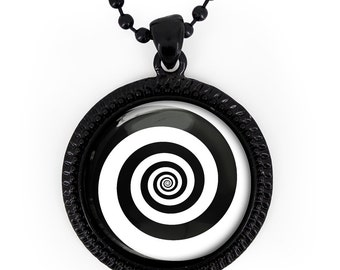 Hypnotic pendant etsy jet black twighlight zone hypnotic spiral glass pendant necklace 347 jbrn 24 inch mozeypictures Choice Image