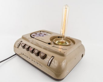 """Vintage lamp in old tape recorder """"Stenorette"""" including Edison light bulb-upcycling"""