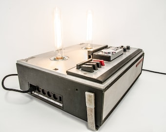 Vintage table lamp in old tape recorder-TELEFUNKEN-upycycling