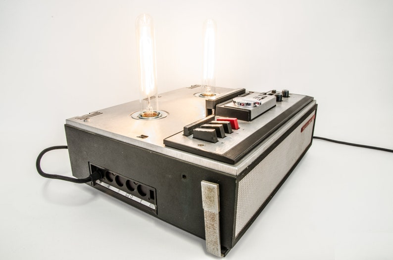 Vintage table lamp in old tape recorder-TELEFUNKEN-upycycling image 0