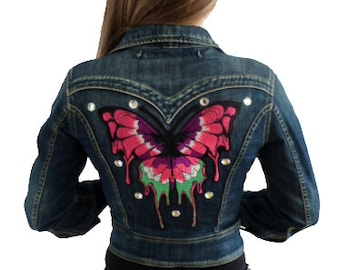 Jeans Jacket with Butterfly Applique