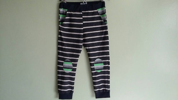 4eae6dd0b66a Stripy kids joggers striped black and white trousers knee