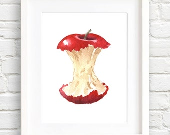 Apple Core - Art Print - Kitchen Art - Wall Decor - Watercolor Painting
