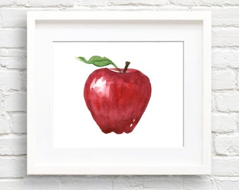 Apple - Art Print - Kitchen Art - Wall Decor - Watercolor Painting
