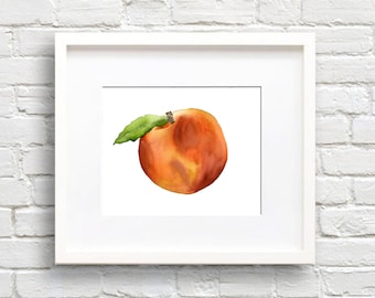 Peach - Art Print - Kitchen Art - Wall Decor - Watercolor Painting