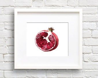 Pomegranate - Art Print - Kitchen Art - Wall Decor - Watercolor Painting