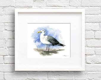 Seagull Art Print - Bird - Animal Art - Wall Decor - Watercolor Painting