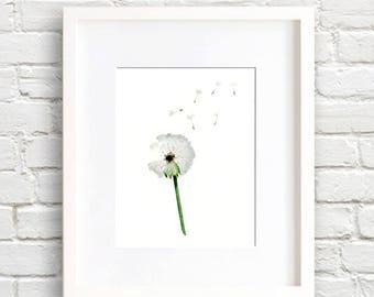 Dandelion Art Print - Dandelion Wall Decor - Make A Wish - Watercolor Painting