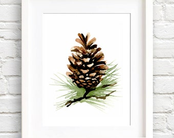 Pine Cone - Art Print - Wall Decor - Watercolor Painting