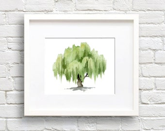 Willow Tree Art Print - Wall Decor - Watercolor Painting