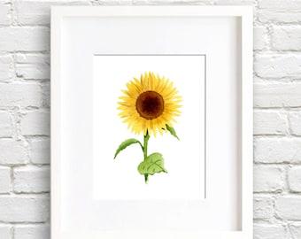 Sunflower Art Print - Wall Decor - Watercolor Painting