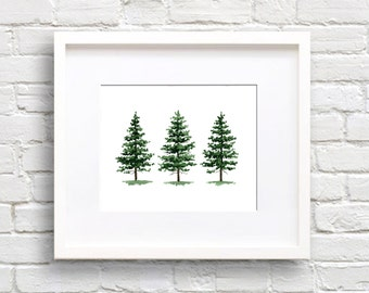 Pine Trees Art Print - Wall Decor - Watercolor Painting