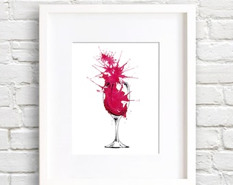 Red Wine Art Print - Wall Decor - Watercolor Painting