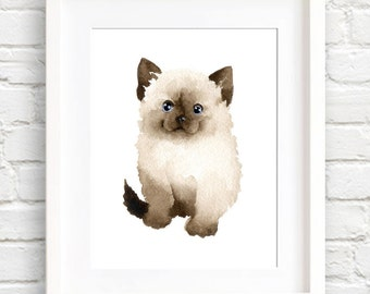 Kitten Art Print - Wall Decor - Cat Art - Watercolor Painting