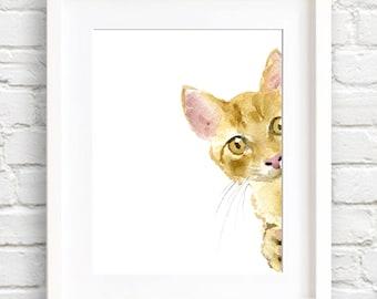 Orange Tabby Cat - Art Print - Nursery Art - Wall Decor - Watercolor Painting