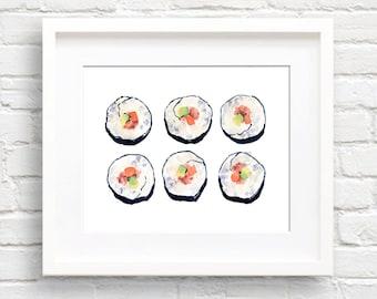 Watercolor Sushi - Art Print - Kitchen Wall Decor - Painting