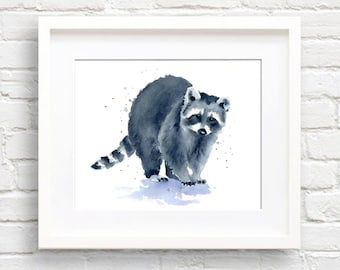 Raccoon Art Print - Wall Decor - Nursery Art - Watercolor Painting