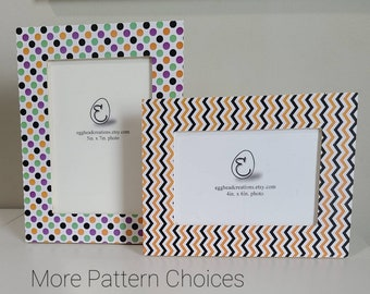Halloween Colors and Patterns  (orange, black, purple, green)  - Decoupaged Wood Picture Frames - 20 Patterns Available