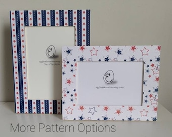 Stars and Stripes/ Memorial Day/ Fourth of July/ red, white, and blue Decoupaged Frames