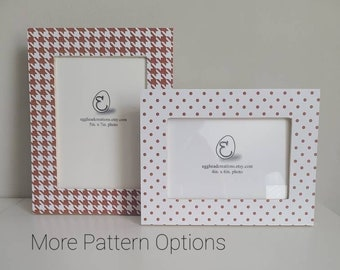 Crimson Dark Red and White Decoupaged Wood Picture Frame -16 Patterns Available