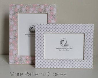 Pink Taupe and White /Blush Floral Patterns Decoupaged Frames - 12 Patterns