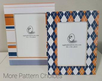Blue and Orange Decoupaged Wood Picture Frame -10 Patterns Available