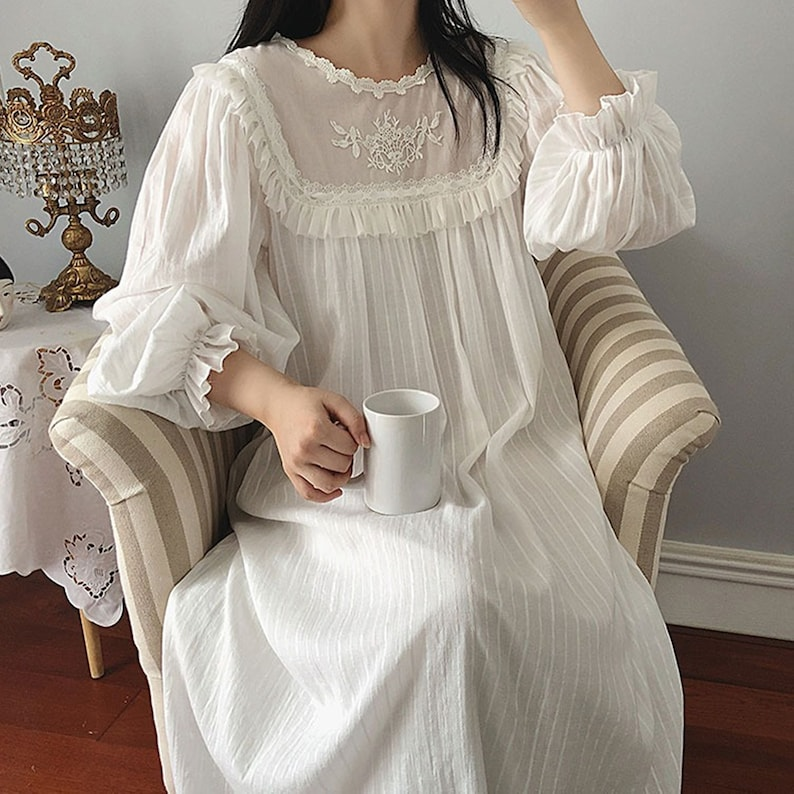 Victorian Nightgowns, Nightdress, Pajamas, Robes Victorian Nightdress Lounge Sleepwear Vintage Night gowns Lingerie Gown Dress Ladies Queen Nightdress Elegant summer dress Long Cocktail 123 $74.99 AT vintagedancer.com