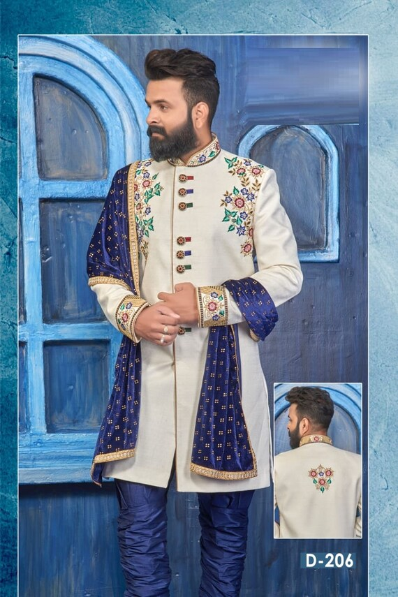 XXL M Men/'s Embroidered Indian Pakistani Jacquard Kurta Pyjama and Scarf Suit