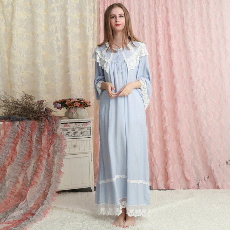 Retro Lingerie, Vintage Lingerie, 1940s-1970s Vintage gowns robe set victorian nightgowns women night gowns vintage loungewear victorian nightdress nightie One Size 134 $79.99 AT vintagedancer.com