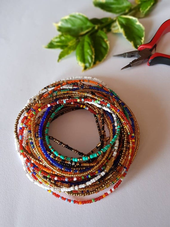 Belly Chain Ghana Waist Beads Tribal Waist Beads Slim Clear Red and White Out African Waist Bead Belly Bead- Tie On Waist Beads