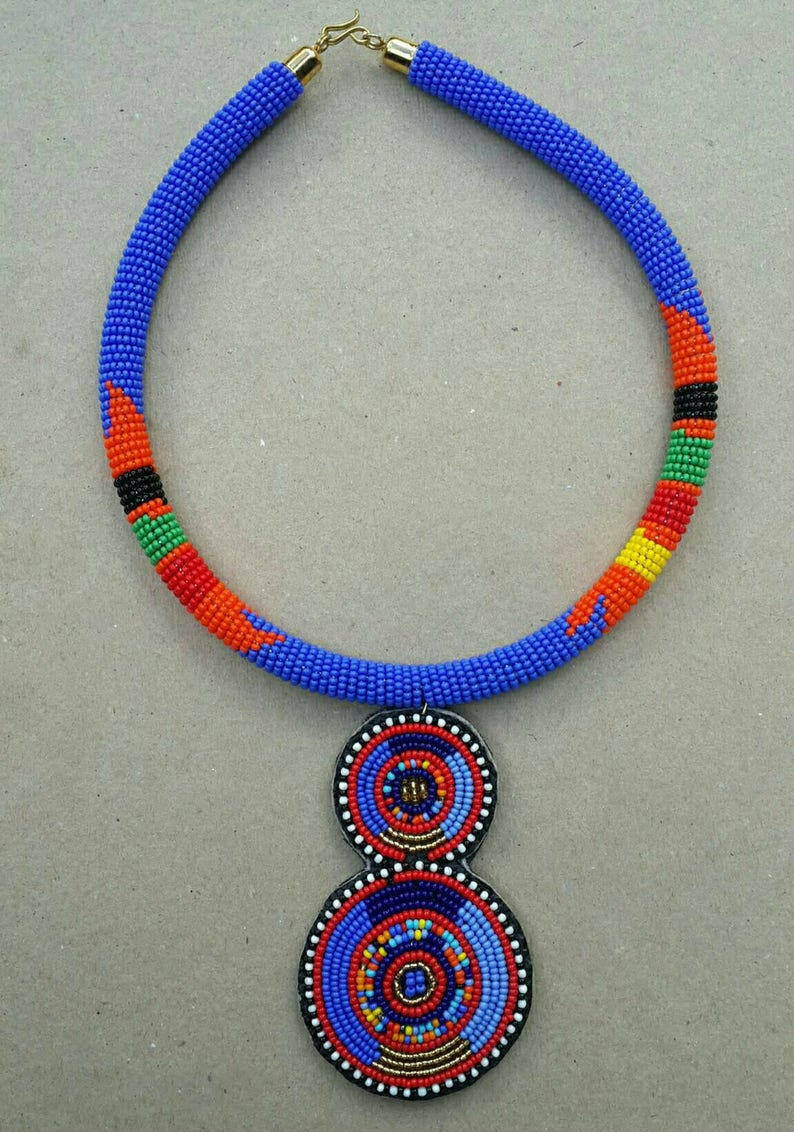 handcrafted necklace Bead necklace with pendant handmade jewelry zulu beads necklace