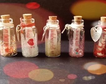 Love Message, Miniature Glitter Message in  Bottle Glittered Mini Message in Bottle with attached Love Charm, Bottled Love Message