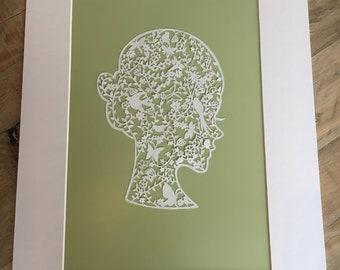 Stunning & Unique Handmade Papercut Lady. Perfect 1st Wedding Anniversary Gift