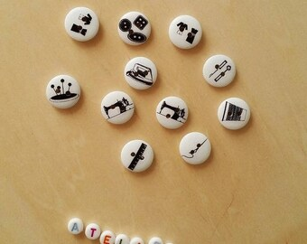 """Set of 10 """"Couture"""" wooden buttons"""