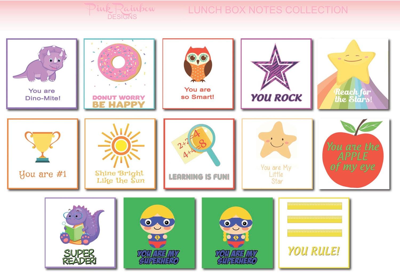 Niños almuerzo caja Nota tarjetas escolares Para imprimir   Etsy