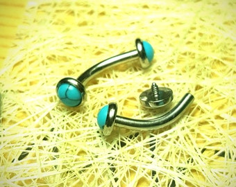 85c348905 VCH Naval Turquoise Christina Internally Threaded Curved Bar Barbell  Vertical Clitoral Hood 14g 7/16