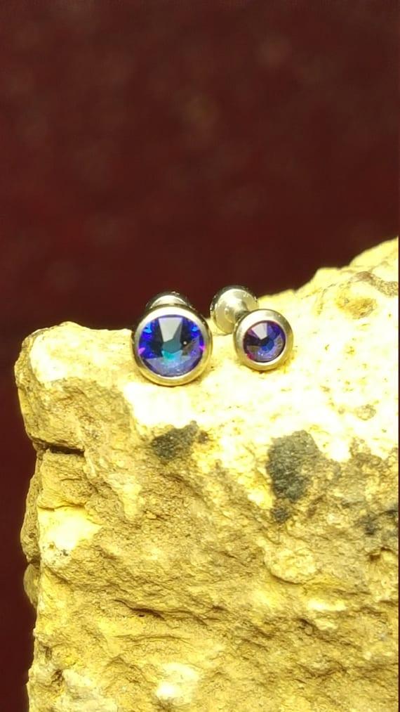 "Triple Forward Cartilage Tragus Helix CZ Studs 1//4/"" 18g Earring Beveled Purple"