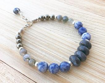 Gemstone bracelet, sterling silver bracelet, sodalite bracelet, Larvakite bracelet, crystal bracelet, bohemian jewelry, gypsy jewelry