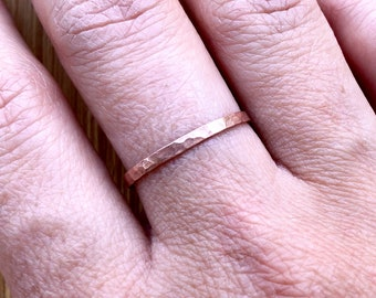 Gifts For Women Thin Hammered Copper Rings Minimal Rings Plain Band Rings Dainty Rings For Women Stacking Rings