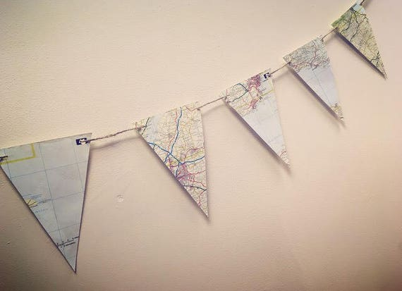 Recycled Map Paper Bunting weddings special occasion or home decoration