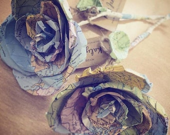 5 Handmade Roses - Recycled from map paper and atlas - weddings, travel lover