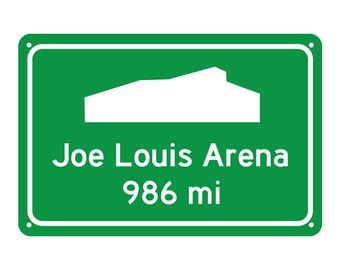 Detroit Red Wings Hockey Road Sign - Customize the Distance